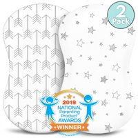 Kids N' Such Bassinet Sheets - Premium Jersey Knit Cotton- Will fit ANY Bassinet Mattress Size or Shape - Super Soft - Safe for Babies - 2 Pack Bassinet Co Sleeper Sheets - Arrow and Stars