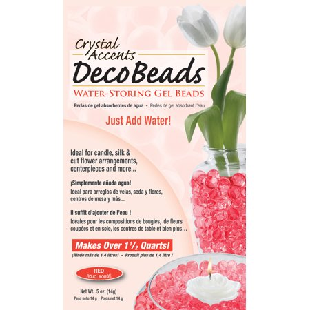 Deco Beads (Red) 1/2 Ounce Pack Makes 6 Cups of Decorative Beads Gel Vase Filler (Decorative Beads)