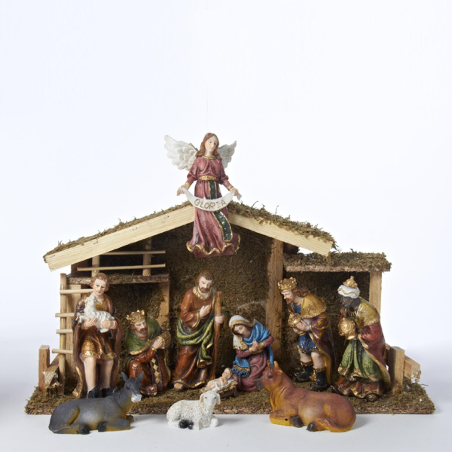 12 Piece Nativity Figures with Wooden Stable 1.5-6""