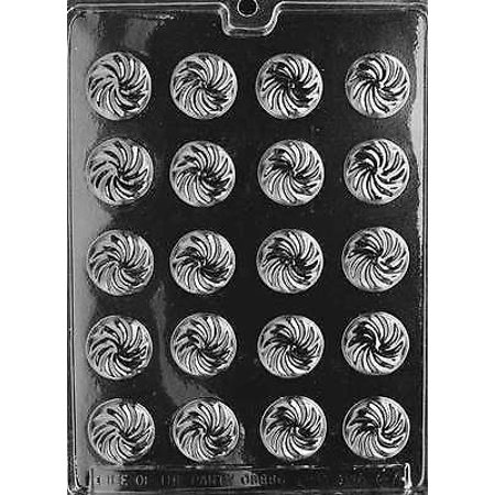 Round Swirl Mints Chocolate Mold - AO047 - Includes National Cake Supply Melting & Chocolate Molding - Mist Swirl