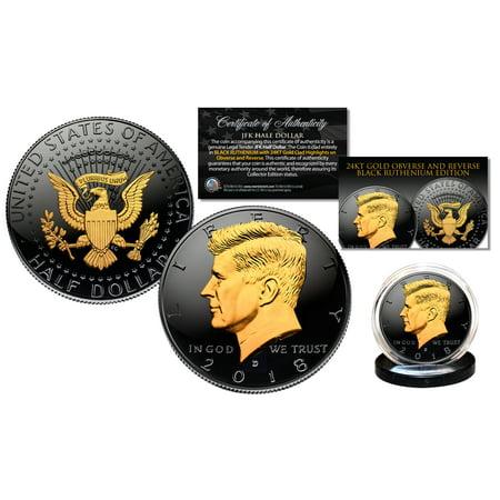 2018 Black RUTHENIUM JFK Half Dollar U.S. Coin 2-SIDED 24K Gold (Half Dollar Gold Coins)