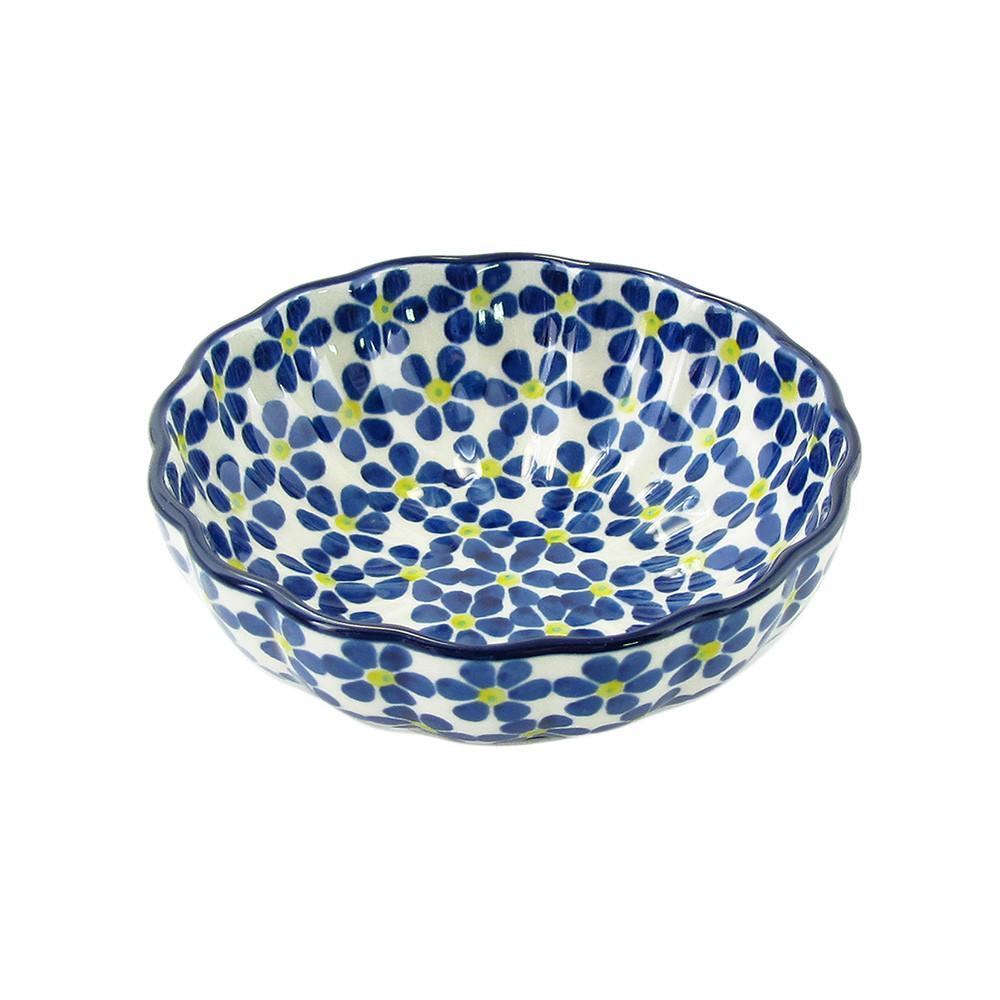 Polish Pottery 4.5'' Fluted Dessert Dish Handmade Boleslawiec StoNeware Pattern 023-yllwdt by