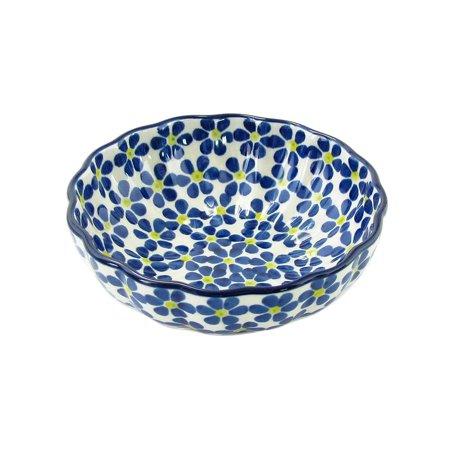(Polish Pottery 4.5'' Fluted Dessert Dish Handmade Boleslawiec Stoneware Pattern  023-yllwdt)