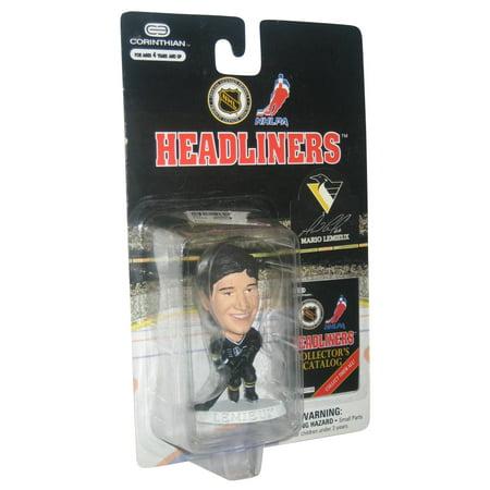 NHL Hockey Headliners Corinthian Mario Lemieux Black Uniform Mini Figure (Mario Lemieux Autographed Stick)