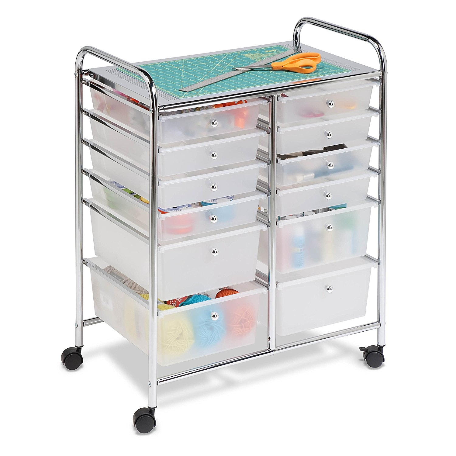 Honey-Can-Do Rolling Storage Cart and Organizer with 12 P...