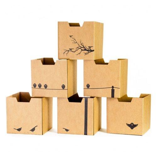 Sprout Cardboard Cubby Bins - 6 Pack - Bird Print