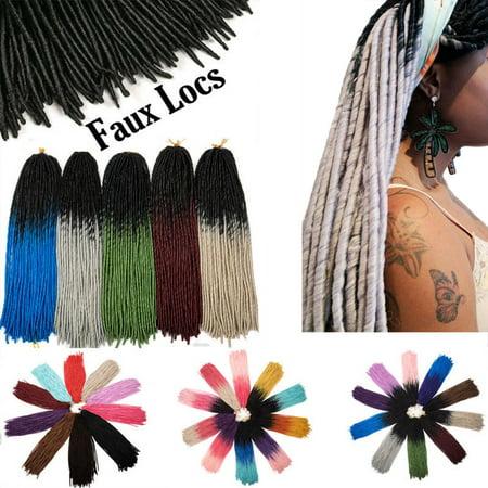 S-noilite Straight Faux Locs Crochet Hair Dreadlocks Crochet Braids Straight Goddess Locs Twist Braiding Hair Extensions-Wine