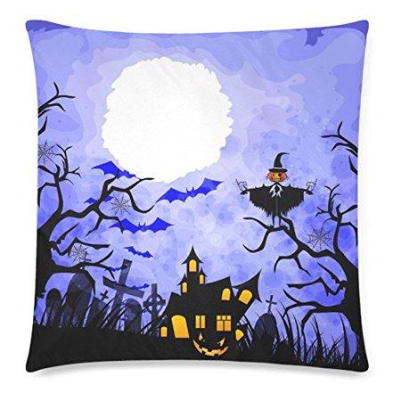 GCKG Halloween Pumpkin,Orange Pumpkin Tree Branch Pillowcase 18x18 inches Bat Moon Blue Pillow Cover Case - image 4 of 4