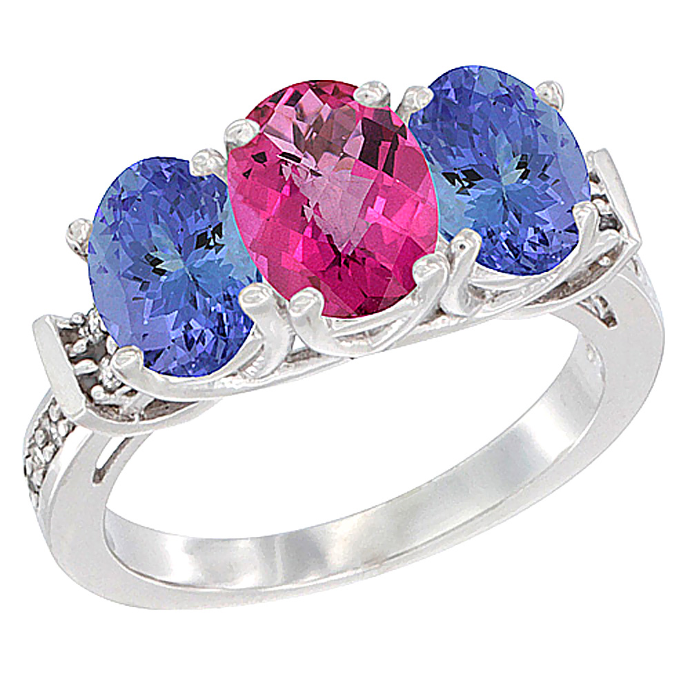 14K White Gold Natural Pink Topaz & Tanzanite Sides Ring 3-Stone Oval Diamond Accent, sizes 5 10 by WorldJewels