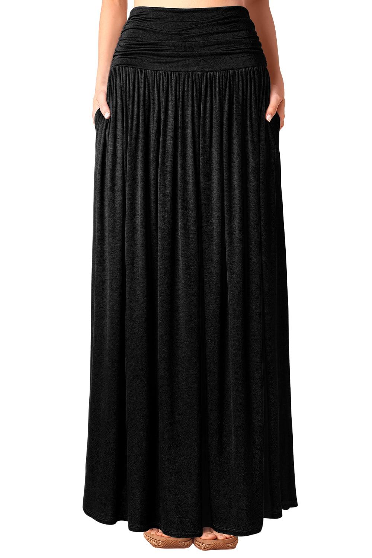 DJT Women's High Waist Shirring Flowy Maxi Skirt with Pockets Large Black