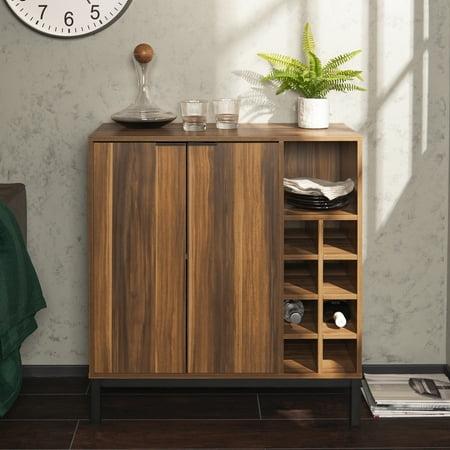 Manor Park Modern Bar Cabinet With Wine Storage Teak
