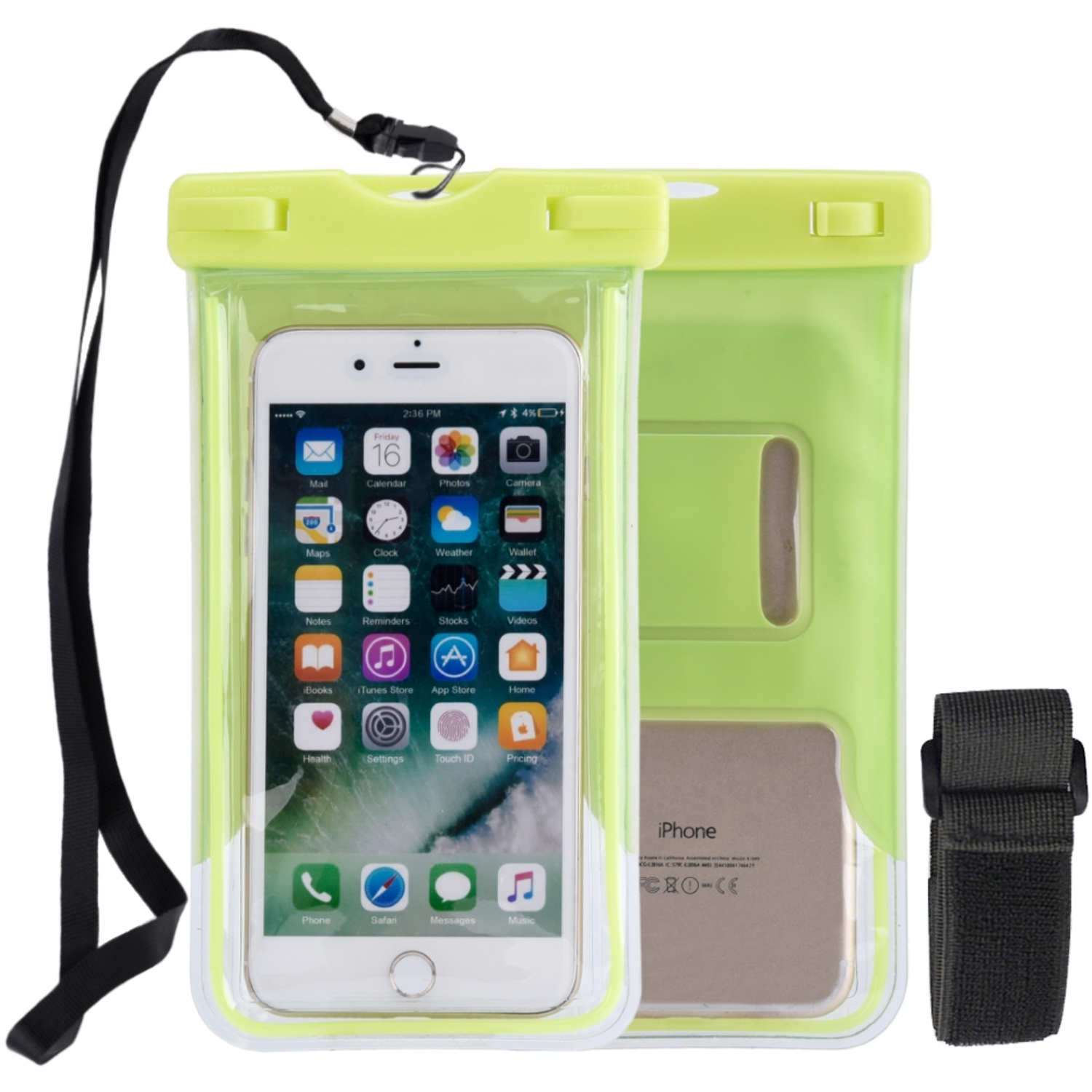 Insten Universal Underwater Sport Waterproof Pouch Glows In The Dark Dry Bag Case with Armband Neck Strap for Cell Phone