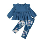 One opening 0-3Y Newborn Kids Baby Girl Long Sleeve Cotton T-shirt Tops Floral Long Pant Trouser 2PCS Girls Clothing Set