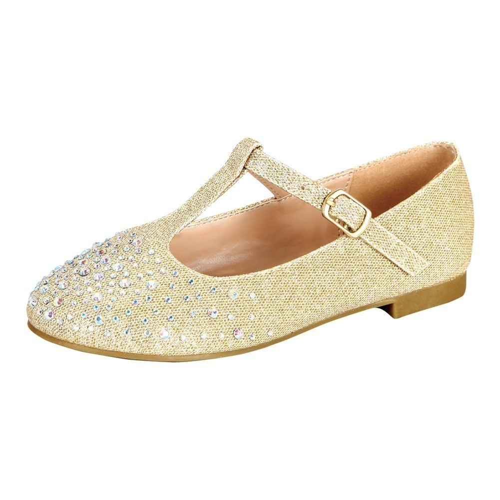 Little Girls Nude Sparkle Studded Accents T-Strap Dress Shoes 8-10 Toddler  - Walmart.com