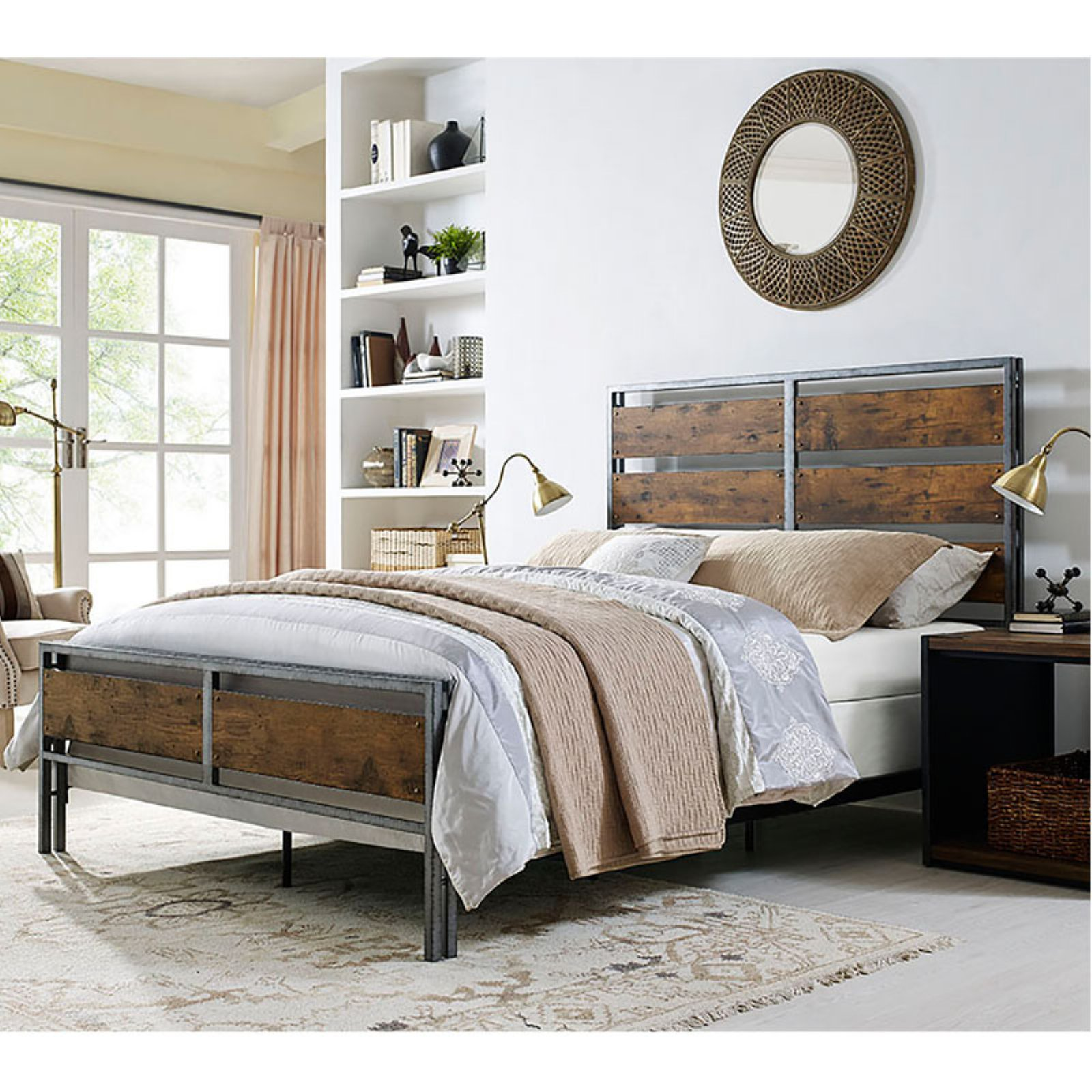 Walker Edison Queen Size Metal and Wood Plank Bed - Brown