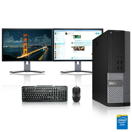 "Refurbished - Dell Optiplex Desktop Computer 2.6 GHz Core 2 Quad Tower PC, 6GB, 250GB HDD, Windows 10 Home x64, Office 365, 17"" Dual Monitor , Radeon 128MB DDR2, USB Mouse & Keyboard"