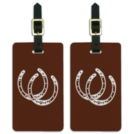 Graphics and More Horseshoe Lucky Double Cowboy Brown Luggage ID Tags Suitcase Carry-On Cards - Set of 2