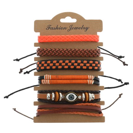 KABOER  New Style Casual Hip Hop Punk Rock 6 Strands Leather Cowhide Waxed Nylon Cord Wrap Bracelet Set Handmade Adjustable