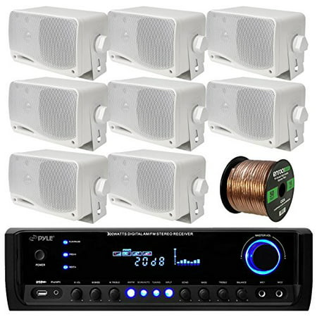 Pyle PT390BTU Bluetooth Digital Home Theater 300-Watt Stereo Receiver Bundle Combo With 8x White 3'' Inch 3-Way Wall Mount Home Audio Speakers + Enrock 50 Ft 16g Speaker
