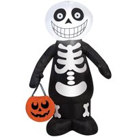 Gemmy Halloween Inflatable 3.5' LED Trick or Treat Skeleton By Gemmy