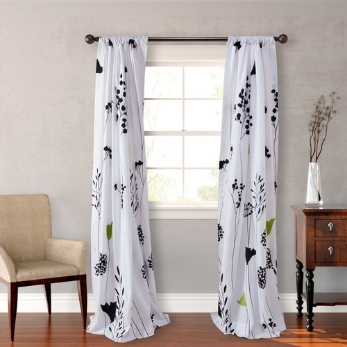 Perry Ellis Asian Lily Lined Floral Semi-Sheer Rod Pocket Curtain Panels (Set of 2)