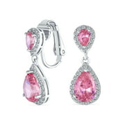 Lavender Teardrop CZ Halo Prom Drop Statement Clip On Earrings Simulated Alexandrite Cubic Zirconia Silver Plated Brass