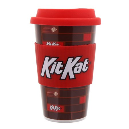 Hershey- Kit Kat Travel Mug with Candy- Hersheys miniature kit kat bars- - Giftable Travel Mug- 1.2 oz Box- 2 Piece set- Mug- and Candy- 4 pieces of candy 1 mug