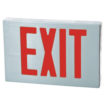 Cast Aluminum LED Exit Sign - Red Lettering, Aluminum Housing, Aluminum - Final Exit Sign