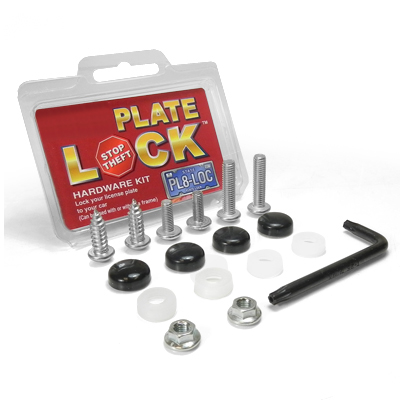 Auto License Plate and License Frame Black Lock Screw Hardware Kit
