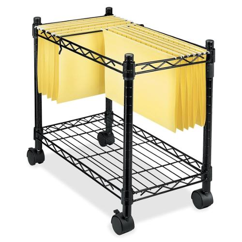 "Fellowes High-Capacity Rolling File Cart - 4 Casters - Metal, Steel - 24"" Width x 14"" Depth x 20.5"" Height - Black"