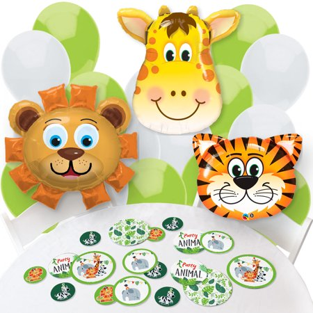 Jungle Party Animals Confetti And Balloon Safari Zoo Animal