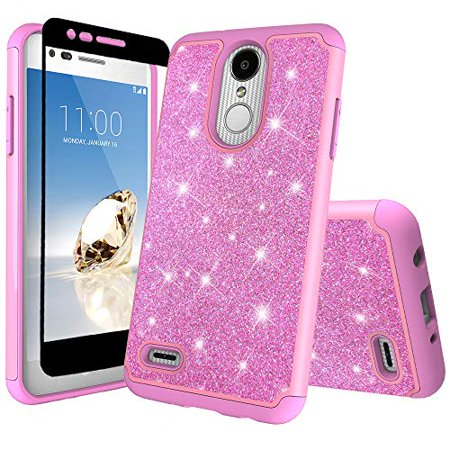 LG Stylo 4/LG Stylo 4 Plus Case Cover w/[ Temper Glass Screen Protector] Glitter Sparkle Shiny Bling Shock Proof Dual Layer Girls Women Case Cover for LG Stylo 4/Stylo 4 Plus - Hot Pink (Verizon Lg G2 Bling Case)