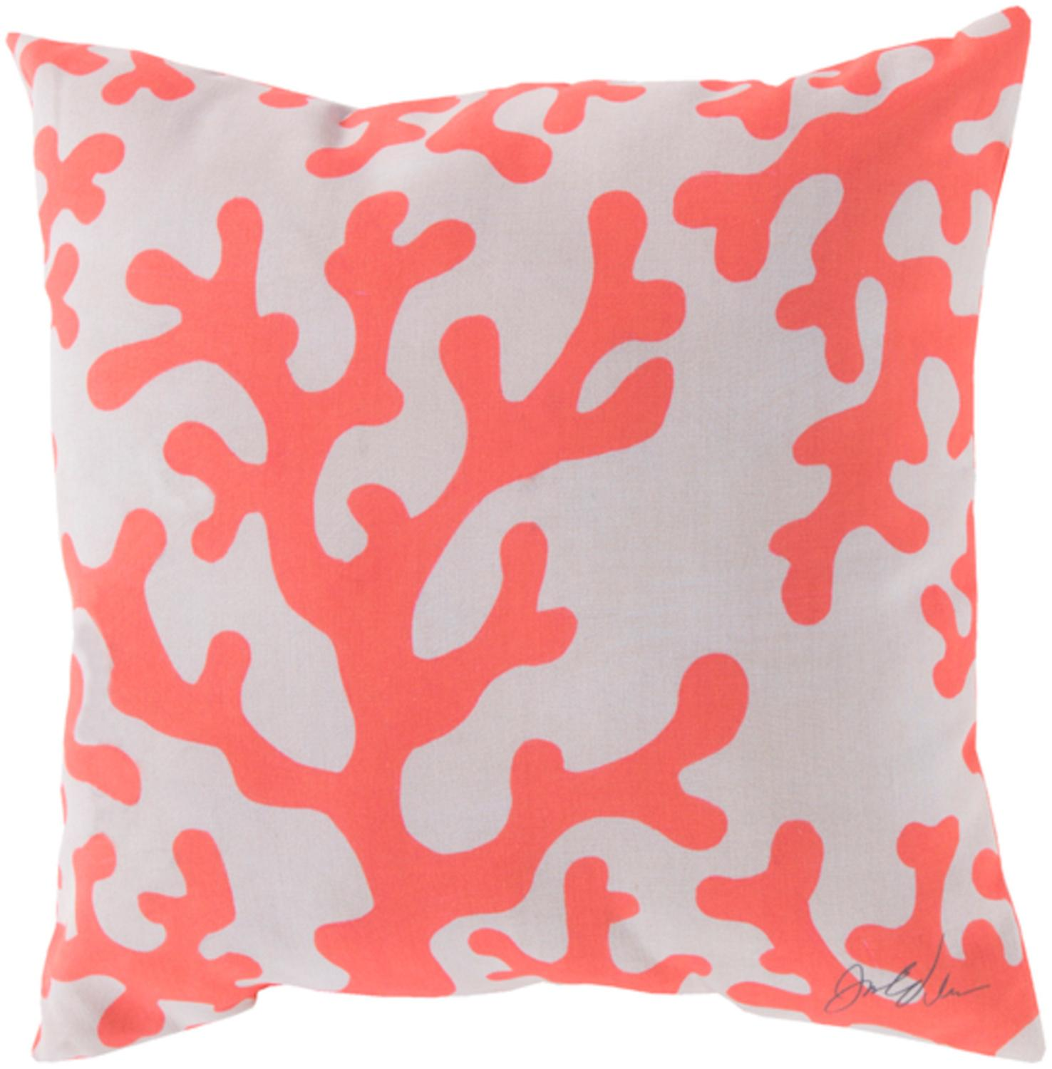 18 Coral Pink And Off White Coral Seas Square Outdoor Throw Pillow