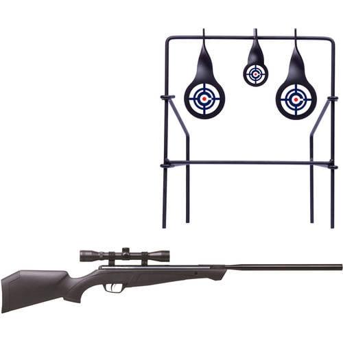 Crosman Crusher NP .22 Caliber Break Barrel Air Rifle and Metal Shooting Target Bundle