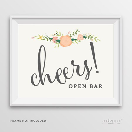Open Bar Cheers! Floral Roses Wedding Party Signs (Open Bar At Wedding)