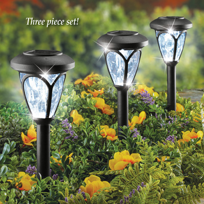 Collections Etc Crystal Look Solar Path Lights Set for Walkway, Yard, Outdoor Garden Stake, Automatic On/Off, 3 Pc
