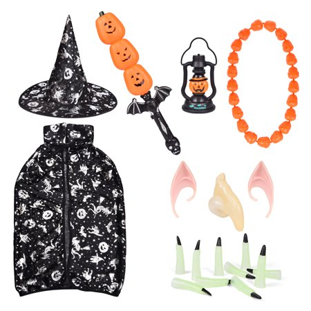 Kids Halloween Costumes Party Favor Set -18 Pcs Including Witch Cloak with Hat, Pumpkin Sword and Lantern(with Sound,Light), Necklace, Witch Nails etc for Halloween Cosplay Party Supplies F-217