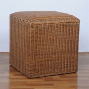 16-inch Square Rattan Wicker Ottoman with Cushioned Top
