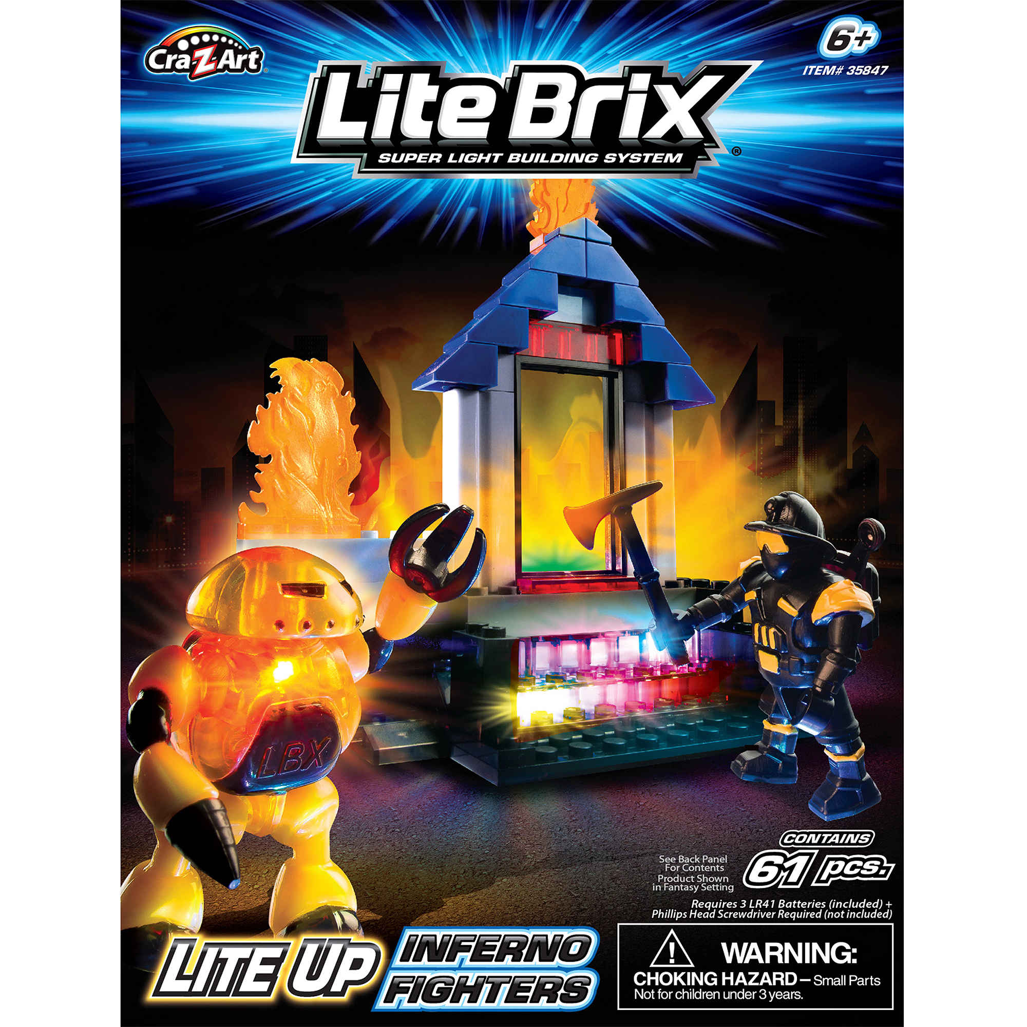 Lite Brix Inferno Fighters Construction Set