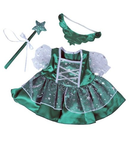 "Green Fairy Princess Dress w Wand Teddy Bear Clothes Outfit Fits Most 14"" 18""... by Teddy Mountain"