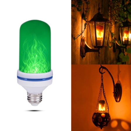 NK HOME Green LED Flame Effect Light Bulb - 4 Modes with Upside Down Effect -E26 Base 108pcs 2835 LED Beads LED Bulb - Flame Bulbs for Christmas Home/Hotel/Bar Party (Flame Green)