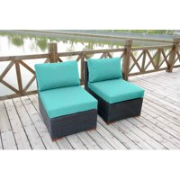 Nevis Armless Patio Chair, Set of 2, Sunbrella Fabic
