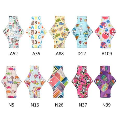 Tbest Reusable Sanitary Pad,Sanitary Pad,10 Types Women Washable Reusable Bamboo Charcoal Cloth Menstrual Mama Sanitary Maternity Pad