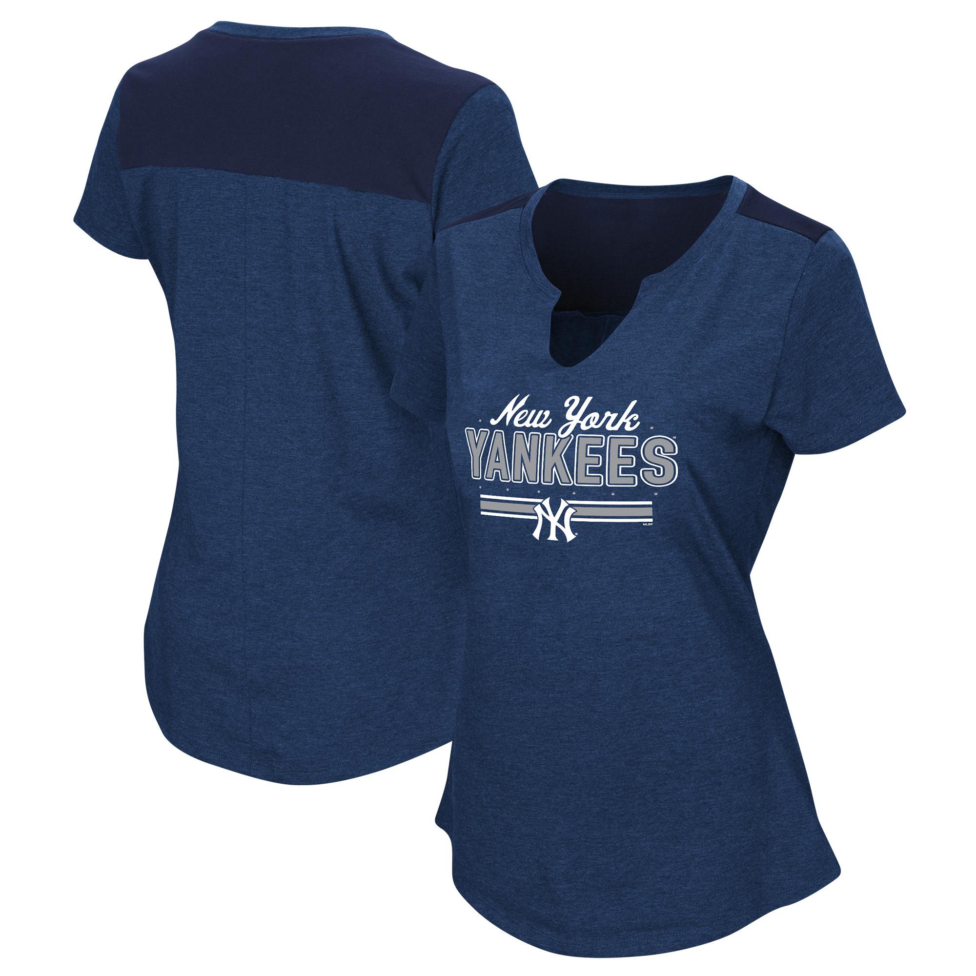 Women's Majestic Navy New York Yankees Plus Size Switch Hitter T-Shirt