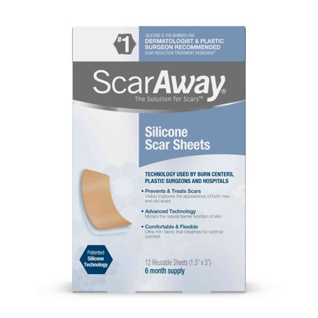 Scaraway Silicone Scar Sheets, 6 Month Supply, 12 Reusable Sheets (Silicone Pads For Scars)