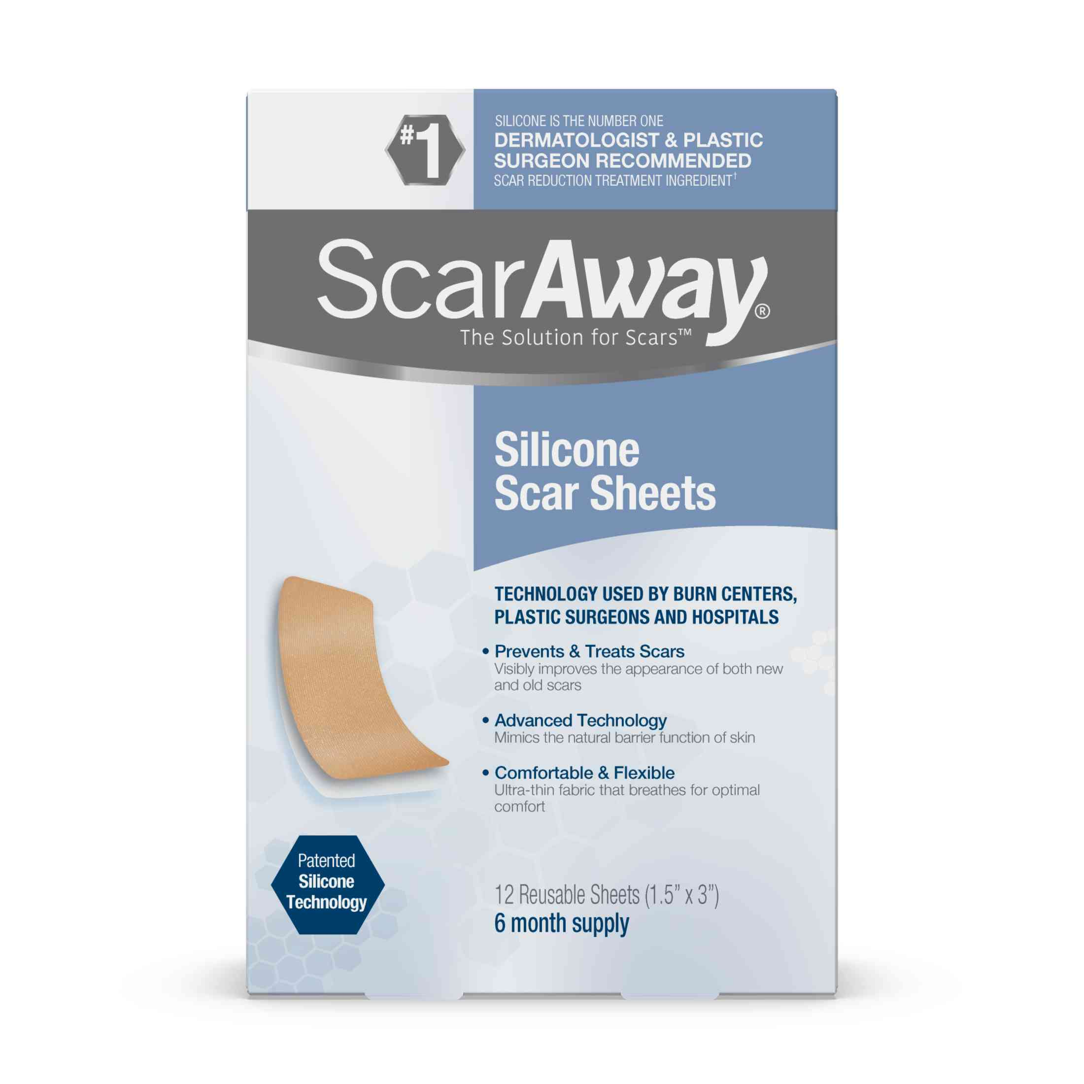 Scaraway Silicone Scar Sheets, 6 Month Supply, 12 Reusable Sheets