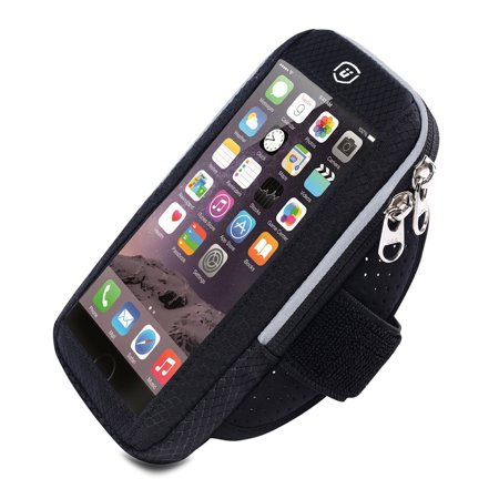 Cellphone Armband for iPhone X/8/7/6s/6, Samsung Galaxy S9/S8/S7, Running Fitness Exercise Workout Sport Case Waterproof Key/Card Holder for Running, Jogging, Biking, Hiking, Climbing ()