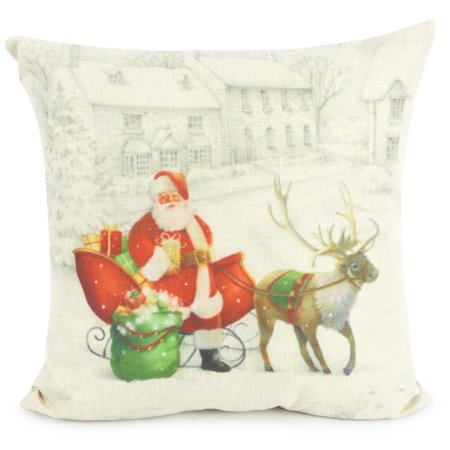 NK Home Christmas Theme Decorations Cotton Linen 1.5ft Square Throw Flax Pillow Case Decorative Pillowcases Cushion Cover