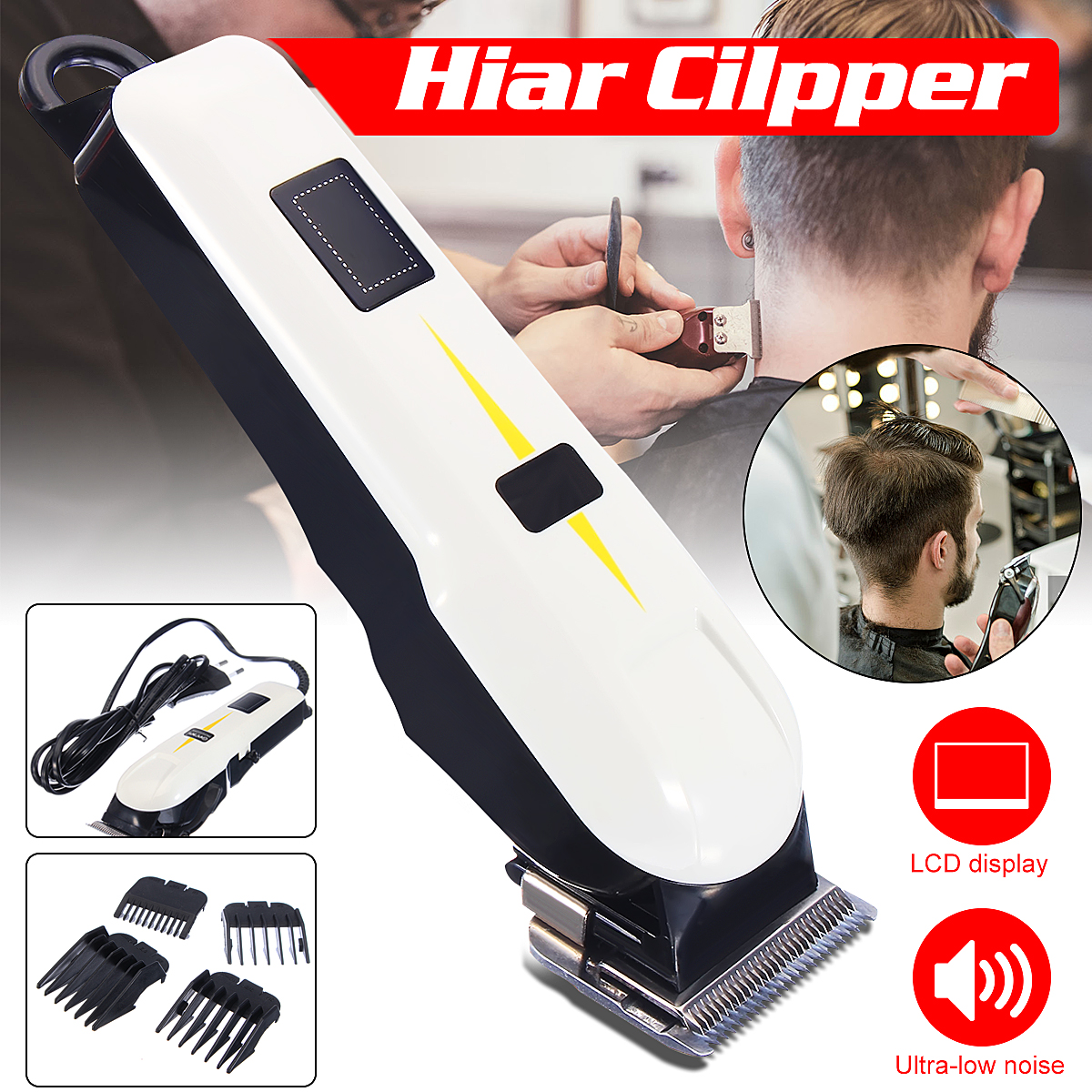 Men's Grooming Kit, Professional Wired Electric Hair Beard Clipper Trimmer Rechargeable Shaver