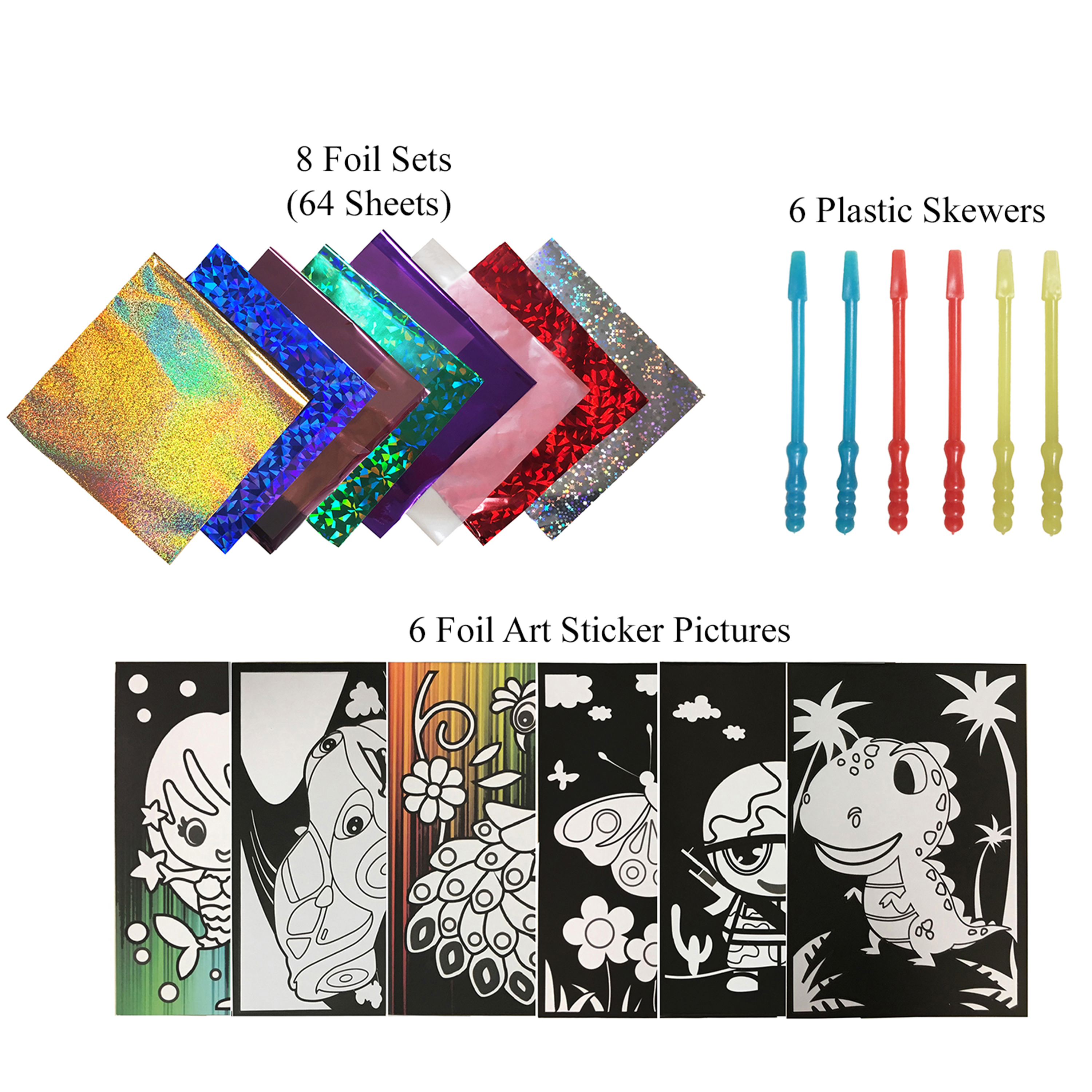 VHALE 6 Sheets Foil Art Sticker Pictures with 64 Foil Sheets & 6 Skewers to Create Fun Sparkly Foil Art, Coloring, Painting, Creative Arts and Crafts, Travel Toys for Children Kids of All Ages